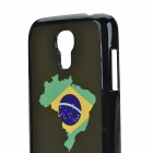 2014 World Cup Brazil Flag Pattern Aluminum Alloy Back Case w/ Card Slot for Samsung Galaxy S4 Mini