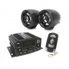 "Kinrener 1.4"" LED 4 x 25W Motorcycle Amplifier Burglar Alarm w/ MP3 / USB / TF / AUX / FM - Black"