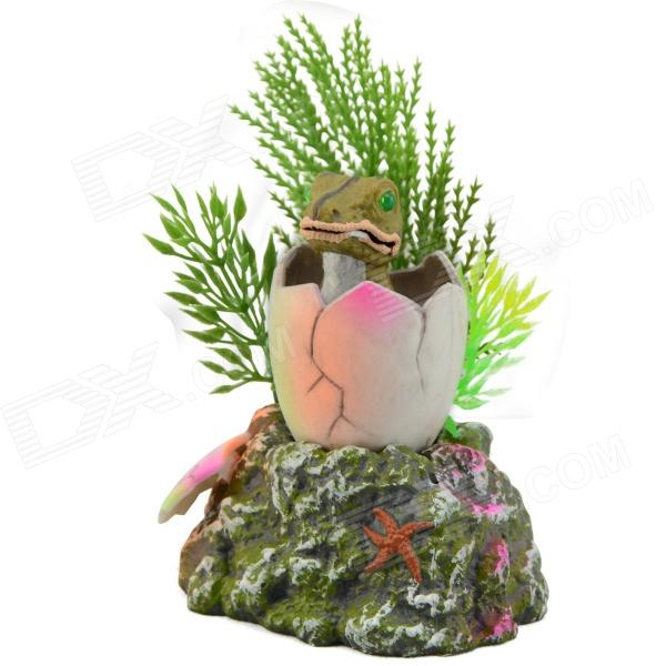 E5CQ Aquarium Fish Tank Decorative Artificial Frog - Green + White