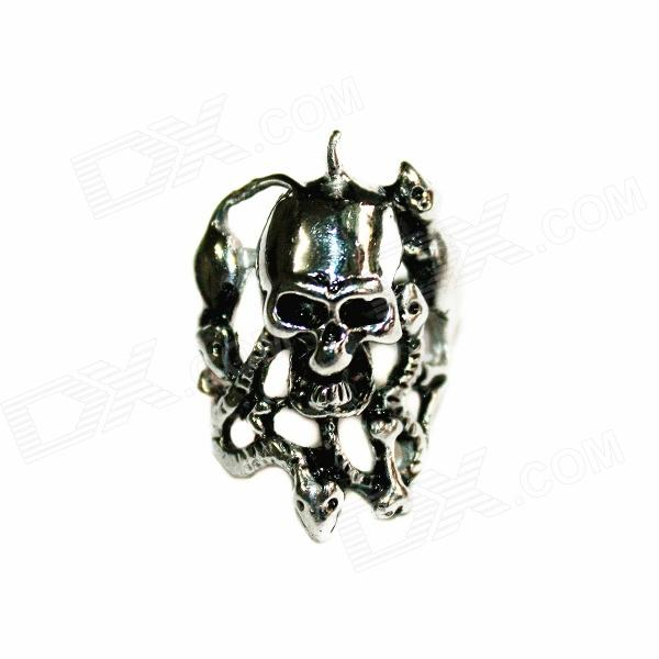 Skull Shaped Stainless Steel Finger Ring - Silver master series trine steel c ring collection package of 4