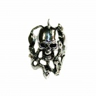 Skull Shaped Stainless Steel Finger Ring - Silver