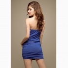 Slim Chest Wrapped Package Hip Strapless Dress - Blue
