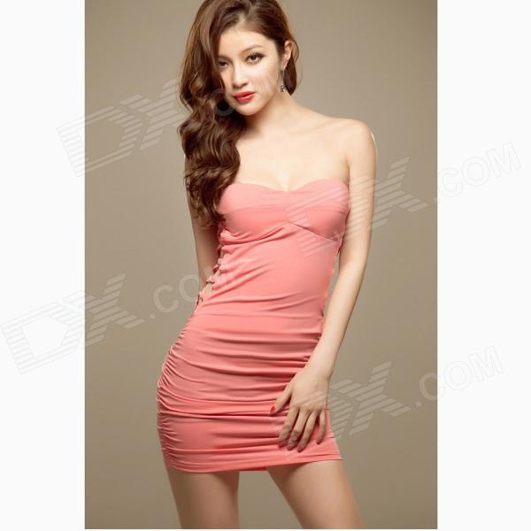 Slim Chest Wrapped Package Hip Strapless Dress - Pink