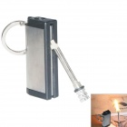 Outdoor Stainless Steel Matches Shaped Keychain + Survival Flintstone  - Silver + Black