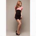 Slim Package Hip V Neck Dress - Black + Red (Free size)