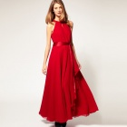 Fashionable Bohemia Style Chiffon Long Dress - Red