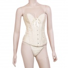 Sexy Embroider Embellishment Brocade Corset for Women - Champagne (Size L)