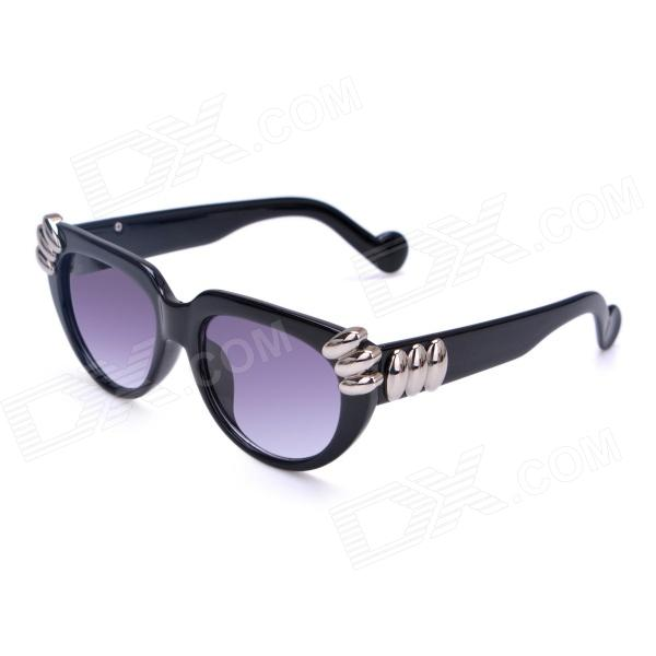 Women's Fashionable PC Frame PC Lens UV400 Protection Sunglasses - Black clip on uv400 protection resin lens attachment sunglasses small