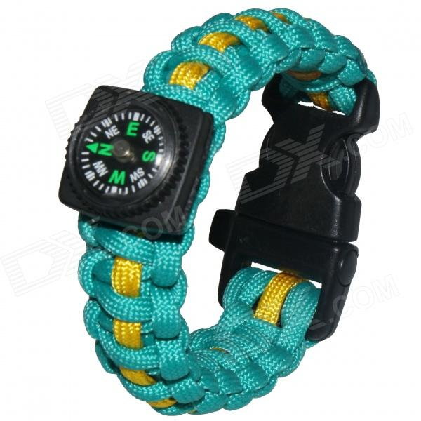 Bracelet Style Outdoor Survival Emergency Rope w/ Compass - Lake Blue + Yellow
