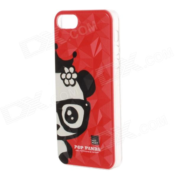 Lovely Panda Pattern Protective Plastic Back Case for IPHONE 5 / 5S - Red + Black + White girl playing guitar pattern protective back case for iphone 5 white black red