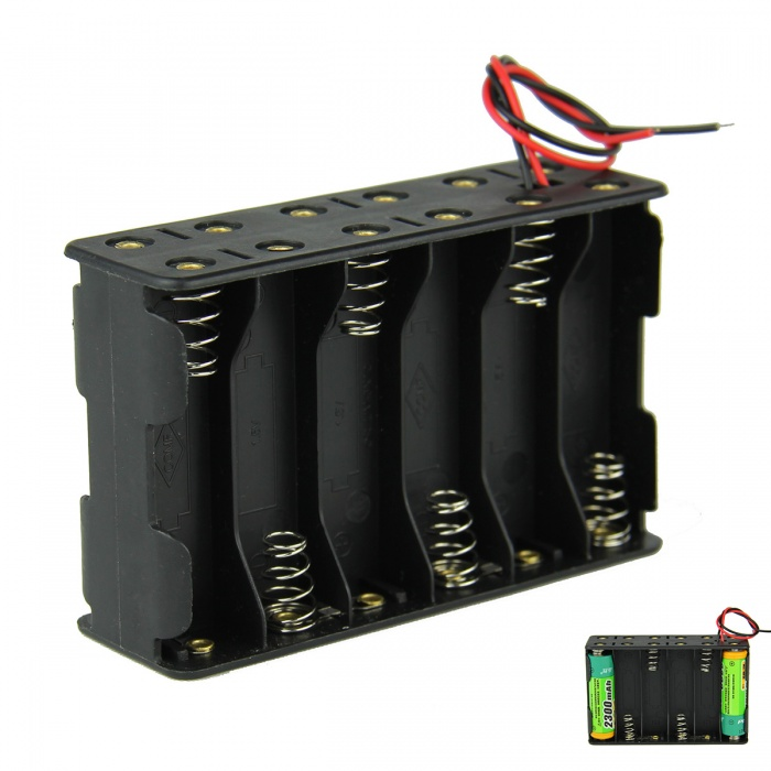 DIY 18V 12-Slot / 12 x AA Battery Double Deck / Back to Back Holder Case Box with Leads - Black 15pcs 14500 battery holder single diy 1 aa battery box case 1 5v with pin