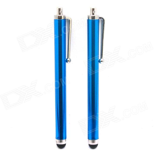 Universal Stainless Steel Stylus Touch Screen Pen for IPHONE, iPAD, IPOD - Blue (2 PCS)