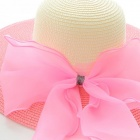 Bowknot Parasol Straw Hat - Pink