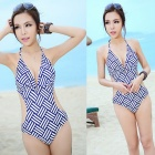 Fashionable Blue Grid Pattern Women's Sexy One-Piece Bikini Swimwear - Blue (Size M)