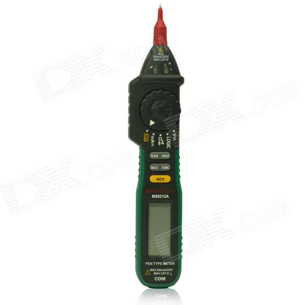 MASTECH MS8212A Multi-Functional Pen Style Digital Multimeter - Black + Green mastech ms8212a multi functional pen style digital multimeter black green