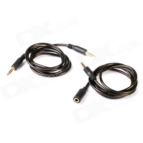 Plateados oro 3.5mm macho a macho de extensión de audio estéreo Cable + macho a hembra Cable de audio - Negro