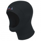 Winter Swimming Diving SCR + Nylon Fabric Hood Hat - Black