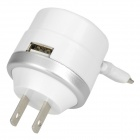 Mini Portable US Plug Wall Charger w/ Female USB Port + Retractable Micro USB Cable - White + Silver
