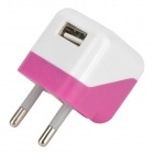 Mini EU-Plug Power Adapter + Charging / Data Cable for Samsung / HTC / LG - White + Pink (110~240V)