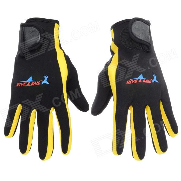 Womens Professional Diving / Sailing / Snorkeling Full-Finger SCR + Nylon Gloves (Pair/S)Gloves<br>Form ColorBlack + Yellow + Multi-ColoredSizeSBrandN/AModelN/AQuantity2 DX.PCM.Model.AttributeModel.UnitShade Of ColorBlackMaterialSCR + Nylon fabricGenderWomenSuitable forAdultsStyleSportsPalm Girth18 DX.PCM.Model.AttributeModel.UnitMidfinger Length7.5 DX.PCM.Model.AttributeModel.UnitGlove Length21 DX.PCM.Model.AttributeModel.UnitOther FeaturesKeep warm; Skid resistance; Protect your hands from scratch; Durable.Packing List2 x Gloves<br>
