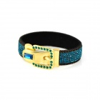 Rhinestone Studded Belt Buckle Wide Bracelet - Blue + Golden