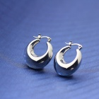 EQute Fashion Moon Shaped Stainless Steel Women's Earring - Silver