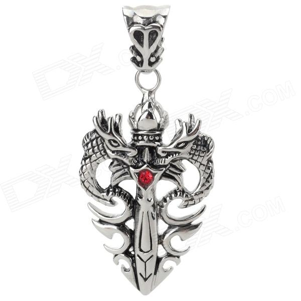 Retro Rhinestone Studded Twindragon + Sword Type Titanium Steel Necklace Pendant - Silver + Red s6205y h 264 hi3518e 1 4 cmos wireless 1megapixel hd 1280 720 smart wifi ip camera night vision support remote monitor