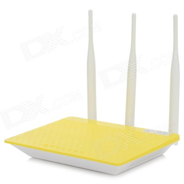 JCG JYR-N490 300Mbps Intelligent Wireless Router w/ 3-Antenna - Yellow + White b593 4ghz lte sma router antenna white