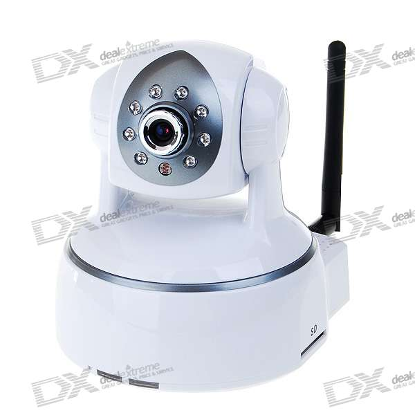 Фото 802.11a/b/g WIFI+LAN 300KP H.264 IP Camera with Audio and 8-LED Night Vision
