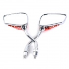 Skeleton Hand Style Universal ABS + Aluminum Motorcycle Rearview Mirrors - Silver + Red (2 PCS )