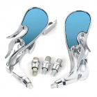 Flame Style Universal ABS + Aluminum Motorcycle Rearview Mirrors - Silver + Blue (2 PCS )