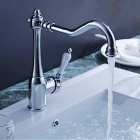 Contemporary Chrome One Hole Ceramics Handle Bathroom Sink Faucets