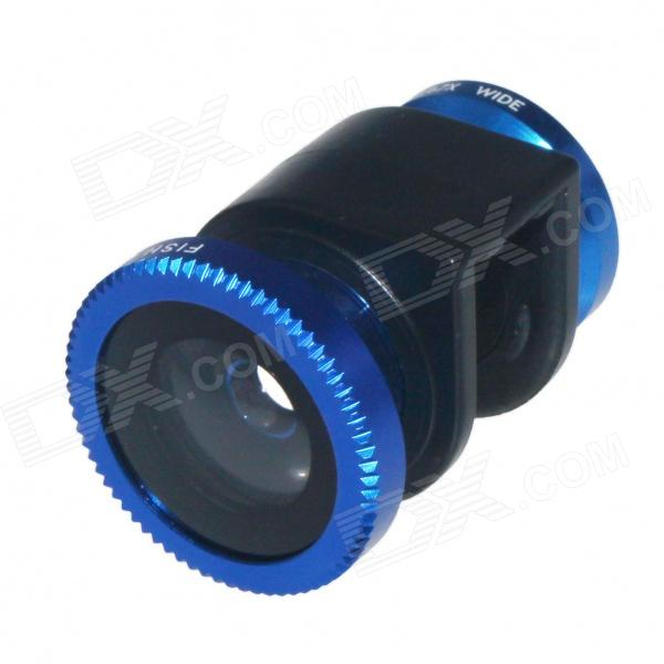 3-in-1 Macro + Wide Angle + Fisheye Lens for IPHONE 4 / 4S - Deep Blue + Black led fill in flash light wide angle macro lens for smartphone white