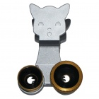 Cat Style Clip 3-in-1 Macro + Wide-angle + Fisheye Lens for Mobile Phone / Tablet PC - Golden
