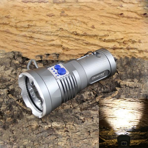 KINFIRE KF-50S 5-LED 2400lm 4-Mode Cool White Light Flashlight - Grey (3 x 18650) trustfire 3 led 3 mode 1100lm cool white light bike light grey purple 2 8 4 2v