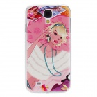 Kinston Make-up Girl Pattern Hard Case for Samsung Galaxy S4 i9500 - White + Pink