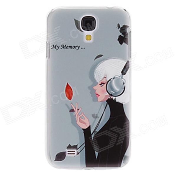 Kinston Short Hair Girl Pattern Hard Case for Samsung Galaxy S4 i9500 - Grey + White