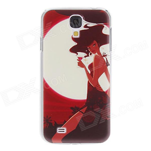 Kinston Red Wine Girl Pattern Hard Case for Samsung Galaxy S4 i9500 - Red