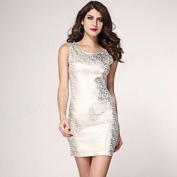 Shining Square Hot Stamping Bodycon Party Dress - White (Size L)