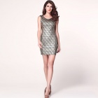 Shining Square Hot Stamping Bodycon Party Dress - Black (Size L)