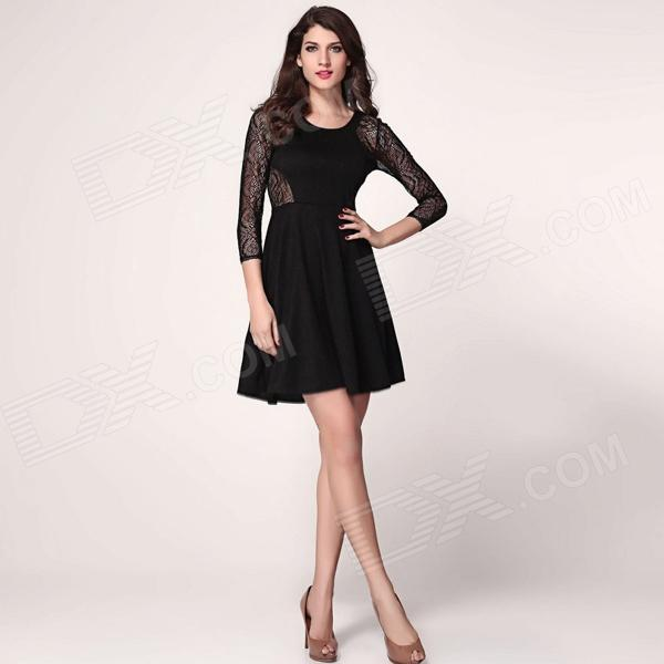 French Connection Vienna Lace Skater Dress with Full Skirt - Black