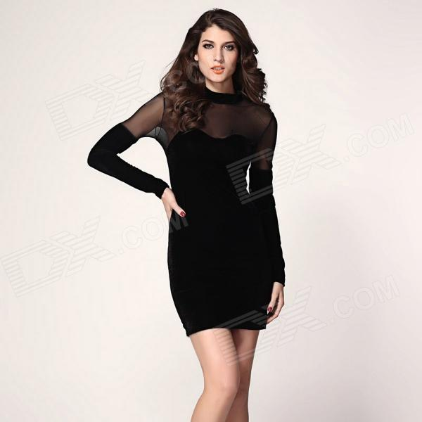 Velvet Sweetheart Neck Bodycon Dress - Black crew neck velvet bodycon dress