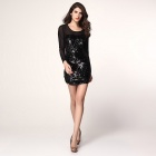 All-Over Sequined Sheer Long Sleeves Bodycon Club Dress - Black