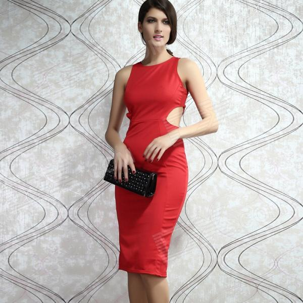 Kate Hollow-out Midi Dress - Red