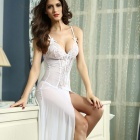 Polyester Bride to Be Deep-V Lace Sleepwear Gown - White