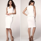 Abi Neck Detail Sleeveless Midi Dress - White (Size L)