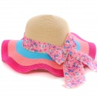 Fashion Falbala Flax Straw Hat - Deep Pink