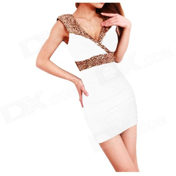 Stylish Package Buttocks Sequined Dress - White (Free size)