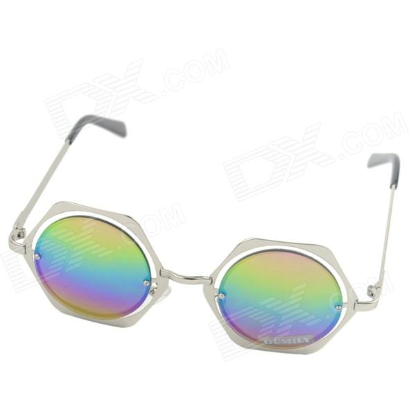 OUMILY Rhombus Style Metal Colorful Reflective Sunglasses Toad Glasses new balance футболка chiks