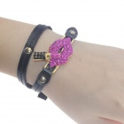 Fashionable Women's Lips Style Dual Layer Rhinestones + PU + Zinc Alloy Bracelet - Black